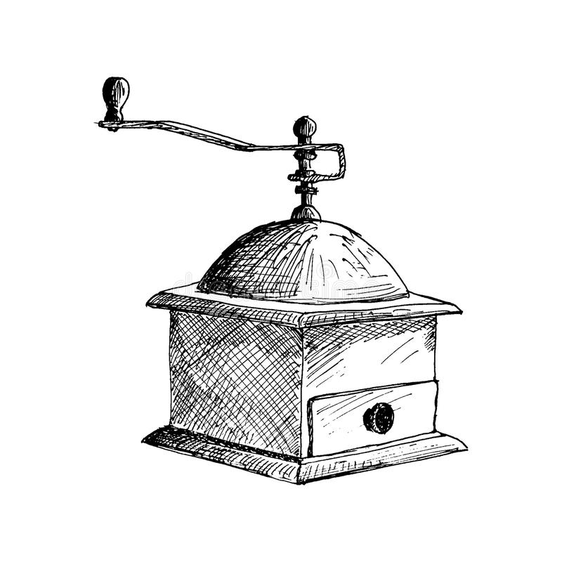 Coffee Mill. Coffee Grinder Hand Drawn Sketch Vector