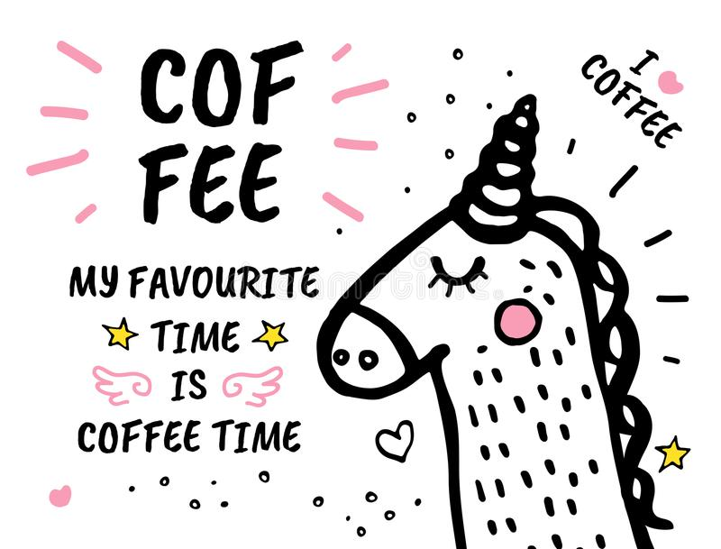 Coffee Time Is My Favourite Hand Drawn Doodles Stock