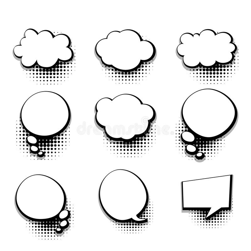 Collection Blank Template Comic Text Speech Bubble Stock