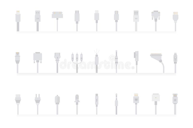 Vector Set Connectors For PC And Mobile Devices Stock