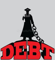 student debt chained graduate college illustration preview