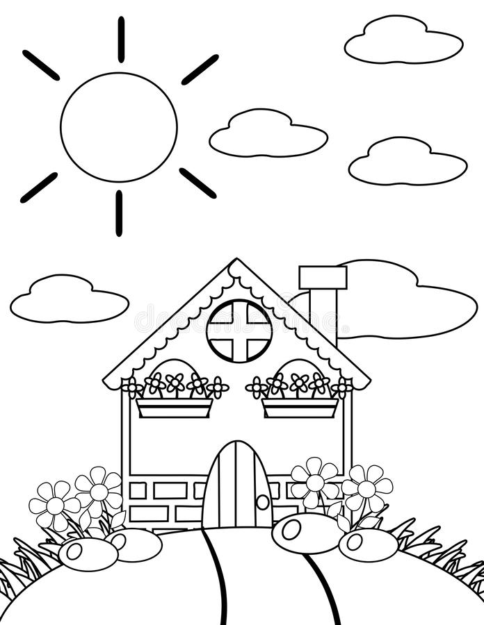 Coloring The House In Black And White Stock Illustration