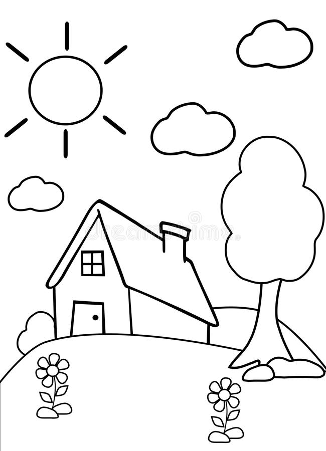 Color the house stock photo. Illustration of garden, black