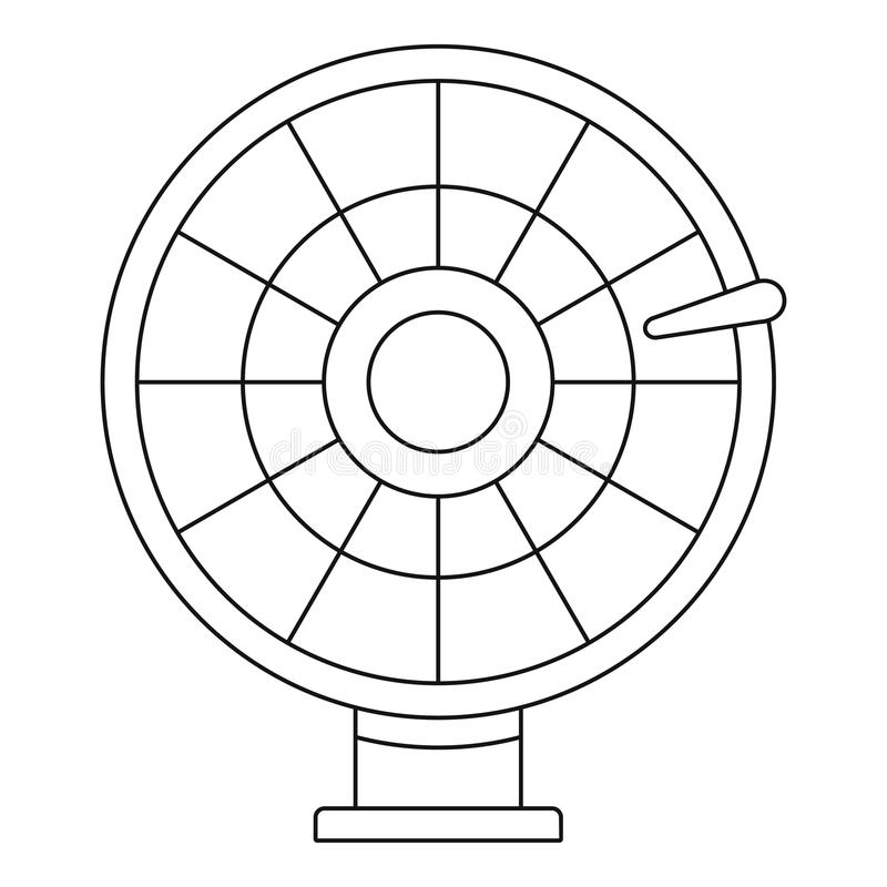 Lucky Wheel Icon, Flat Style Stock Illustration