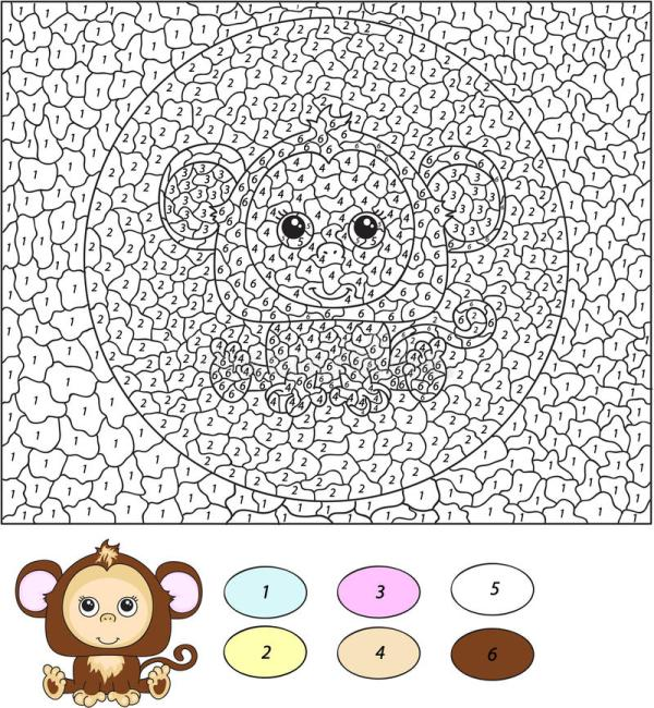 Color By Number Educational Game For Kids Cartoon Monkey