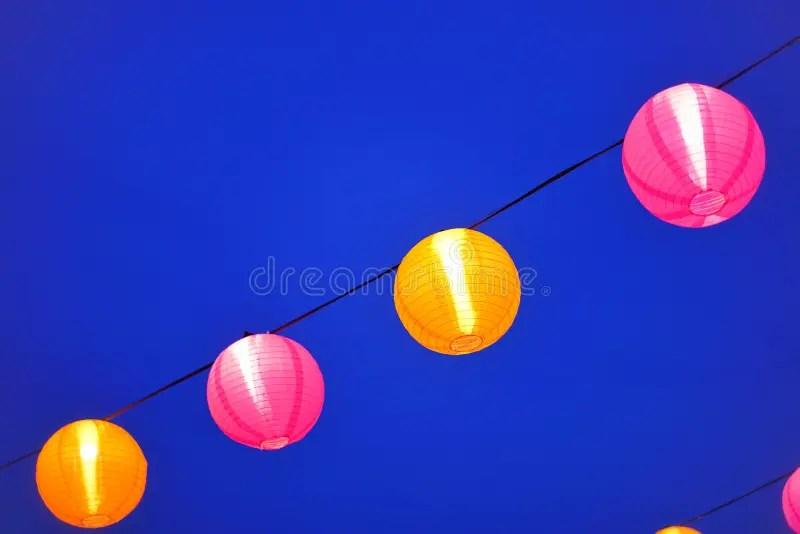 colored paper lanterns stock