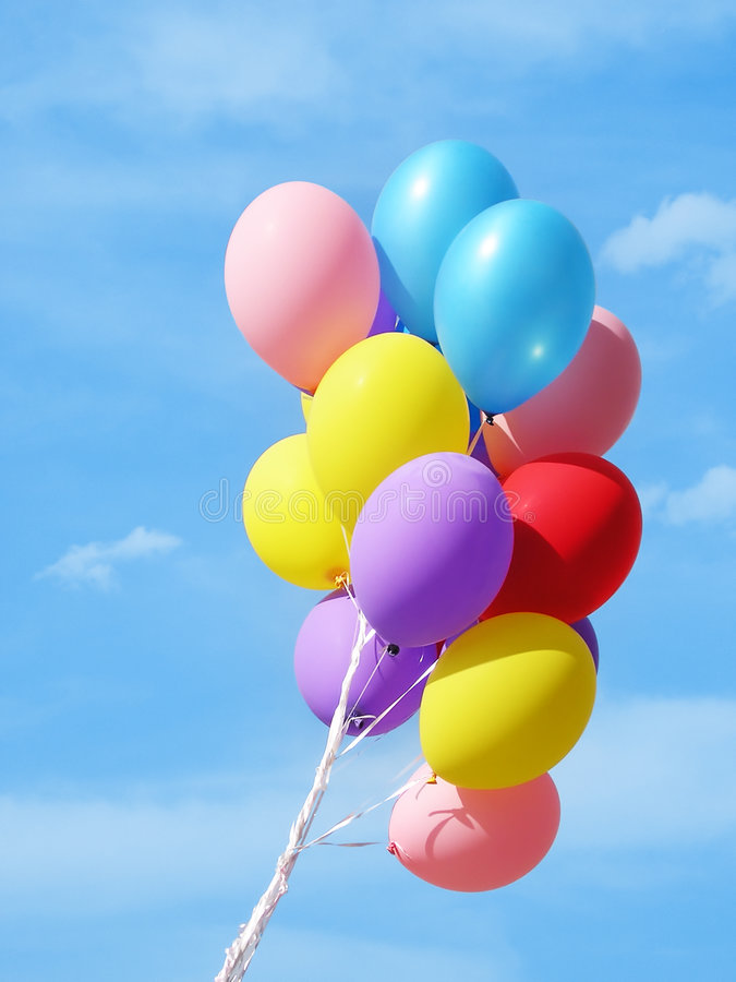 Colorful Balloons Against Sky Stock Photo  Image of play