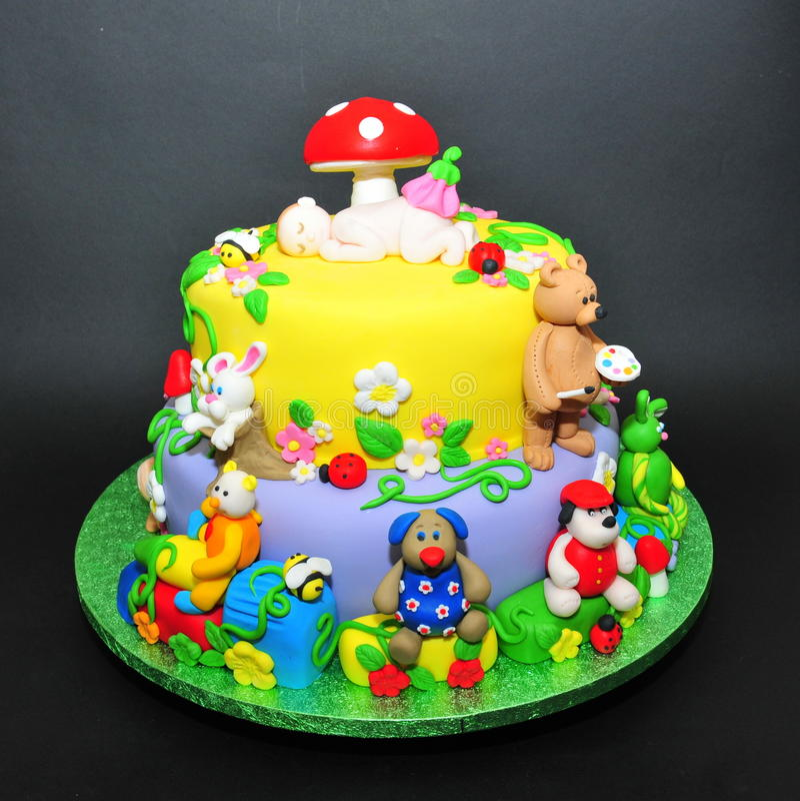 Colorful Fondant Cake With Animals Figurines Stock Photo