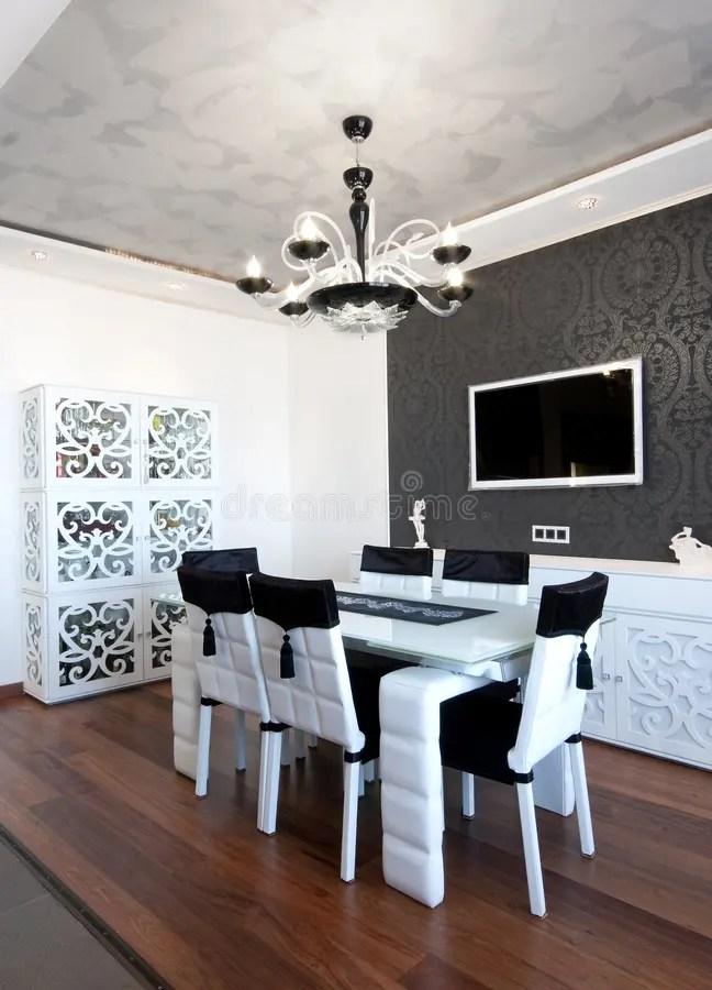 Colori Moderni Della Sala Da Pranzo In Bianco E Nero Immagine Stock  Immagine di appartamento