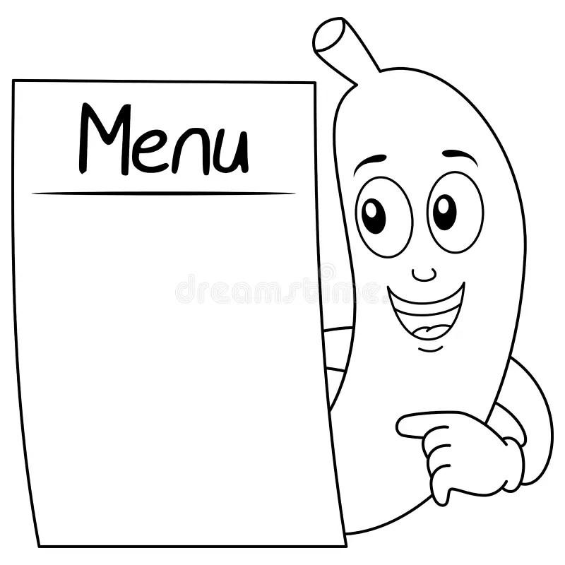Coloring Banana Holding A Blank Banner Stock Vector