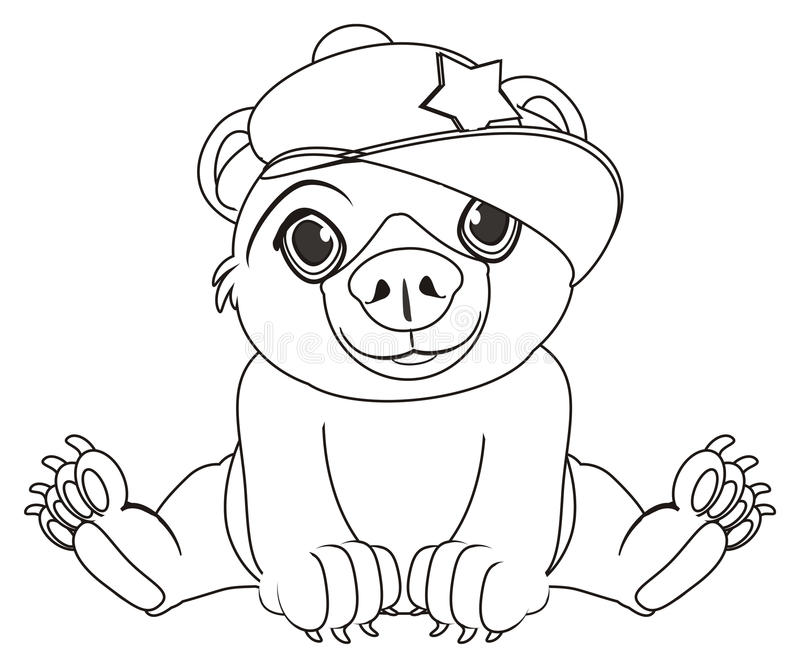 Coloring bear in hat stock illustration. Illustration of