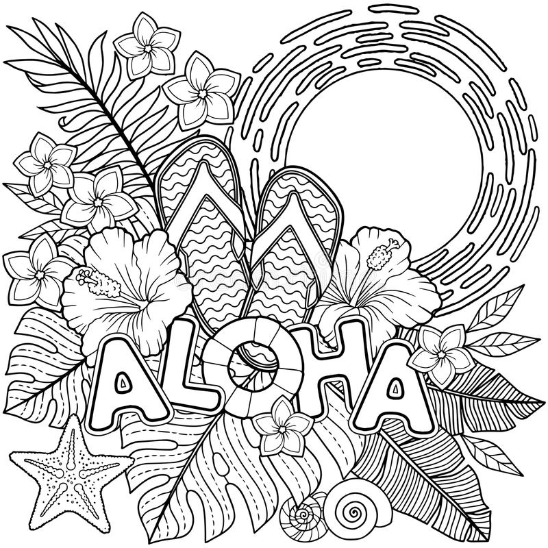 Island Coloring Page Stock Illustrations