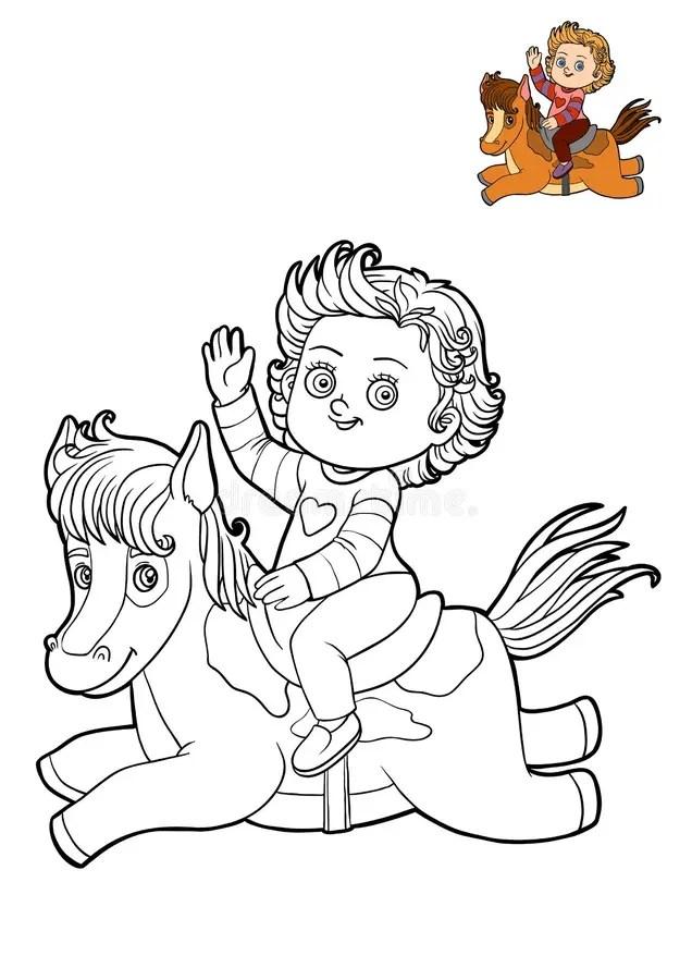 Cartoon Girl Horse Stock Illustrations