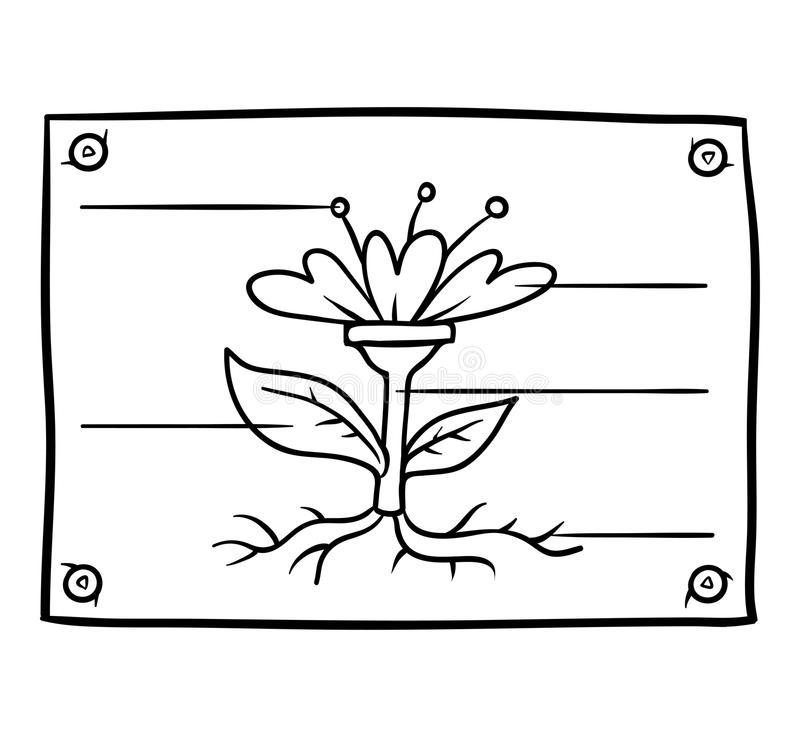 Education Coloring Page With Vegetable. Hand Drawn Vector