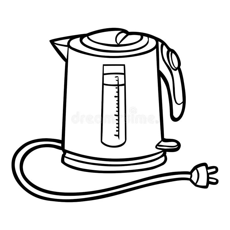 An Isolated Black Electric Tea Kettle Stock Vector