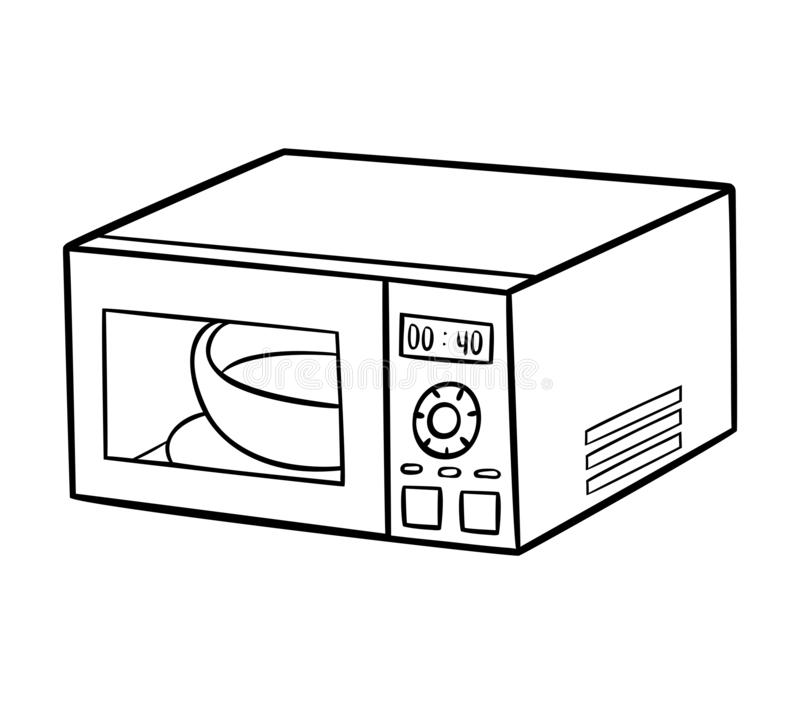 coloring book microwave oven black