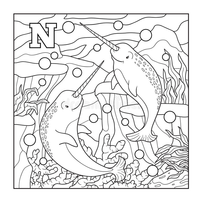 Coloring Book (narwhal), Colorless Illustration (letter N