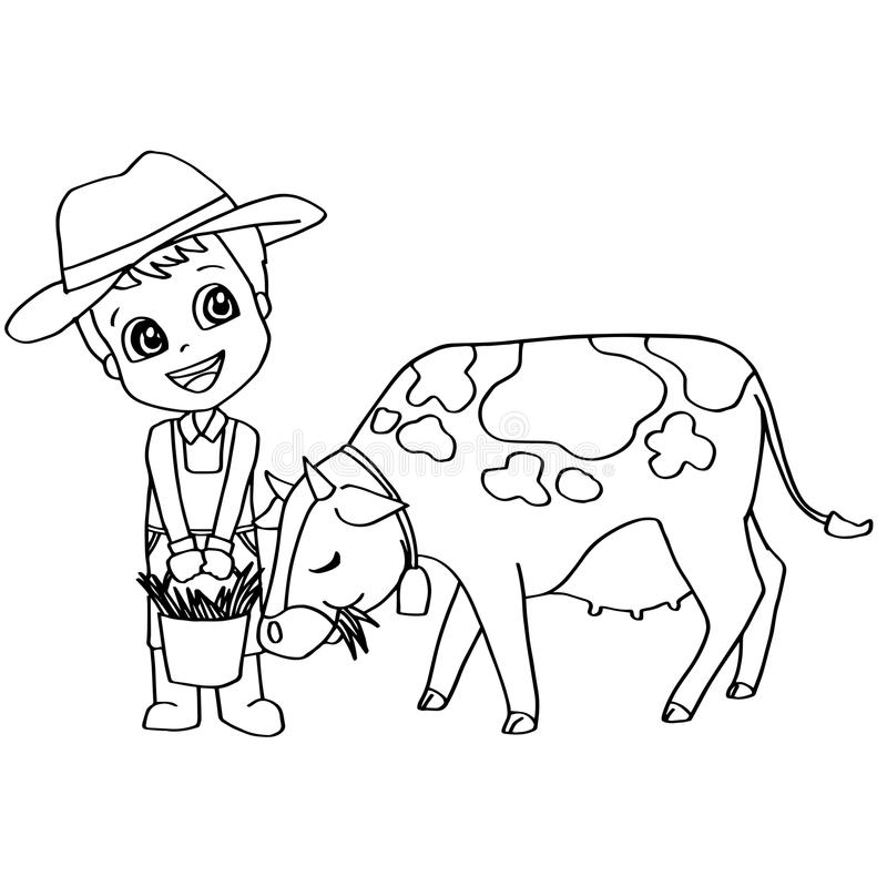 Coloring Book Child Feeding Horse Vector Stock Vector