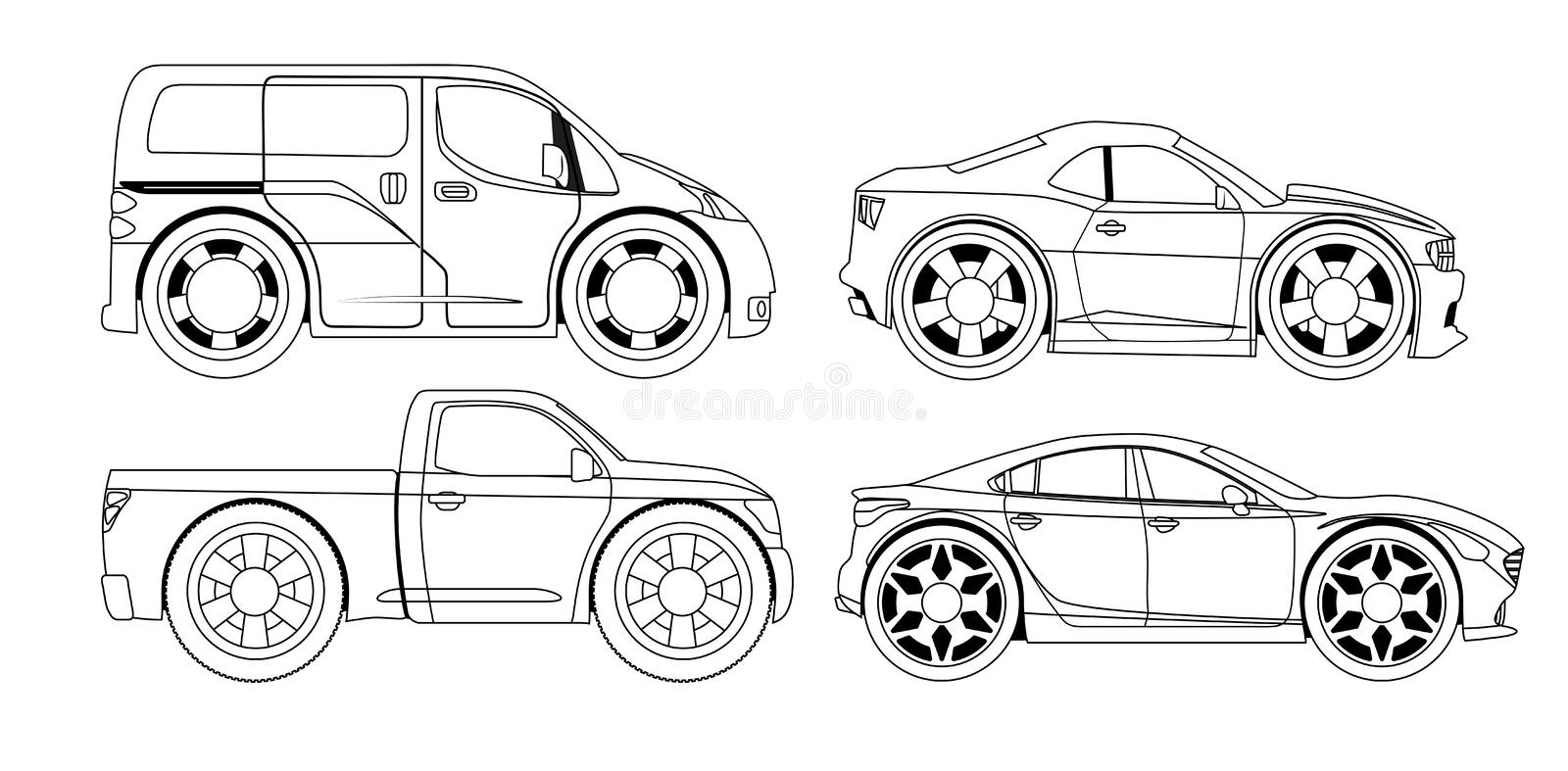 Coloring Book: Stylized Cars Set Stock Vector