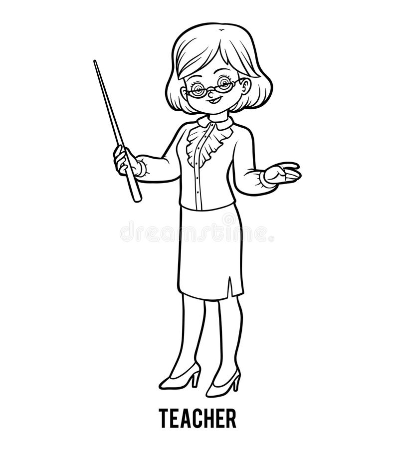Coloring book, Teacher stock vector. Illustration of