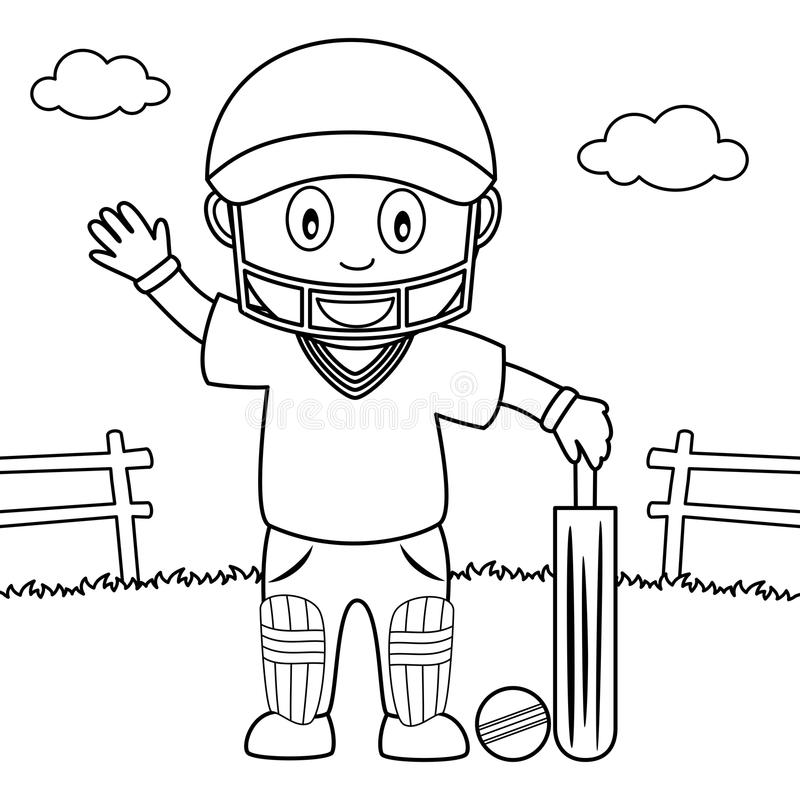 Coloring Boy Playing Cricket In The Park Stock Vector