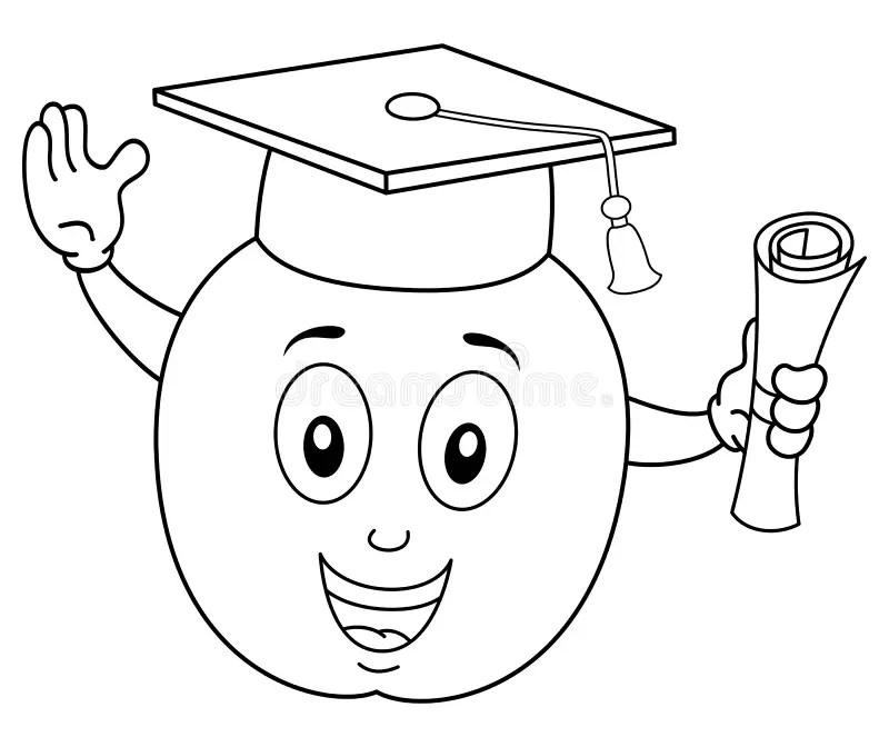 Coloring Cartoon Apple With Graduation Hat Stock Vector