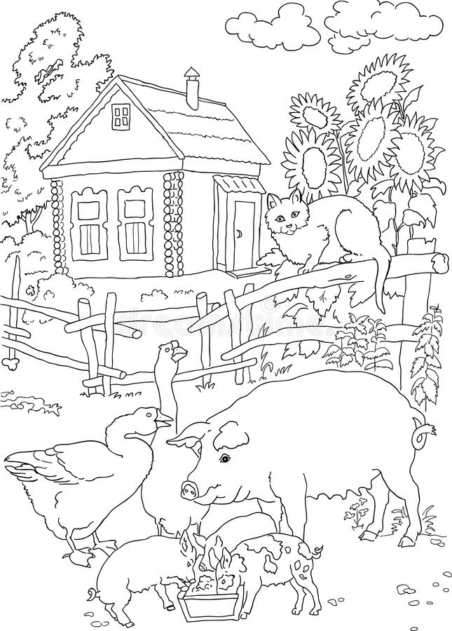 Coloring cat, pig, house stock vector. Illustration of