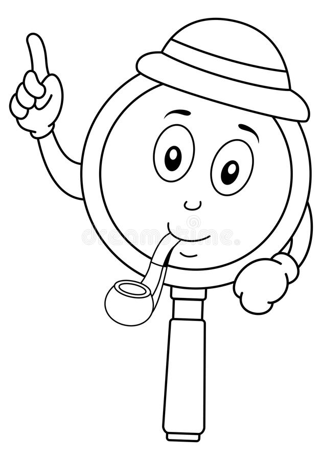 Coloring Cute Magnifying Glass Character Stock Vector