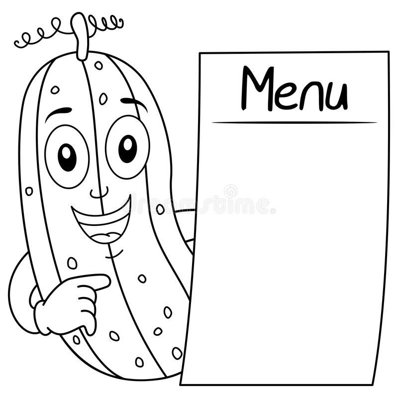 Coloring Happy Cucumber With Blank Menu Stock Vector