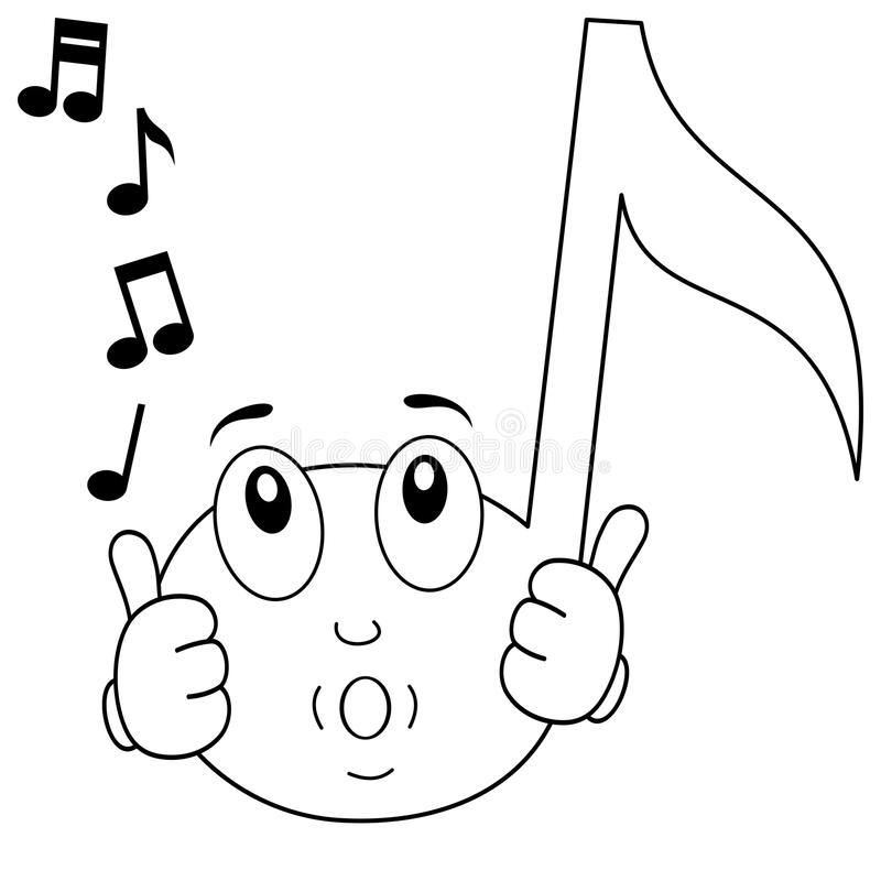 Coloring Happy Music Note Whistling Stock Vector