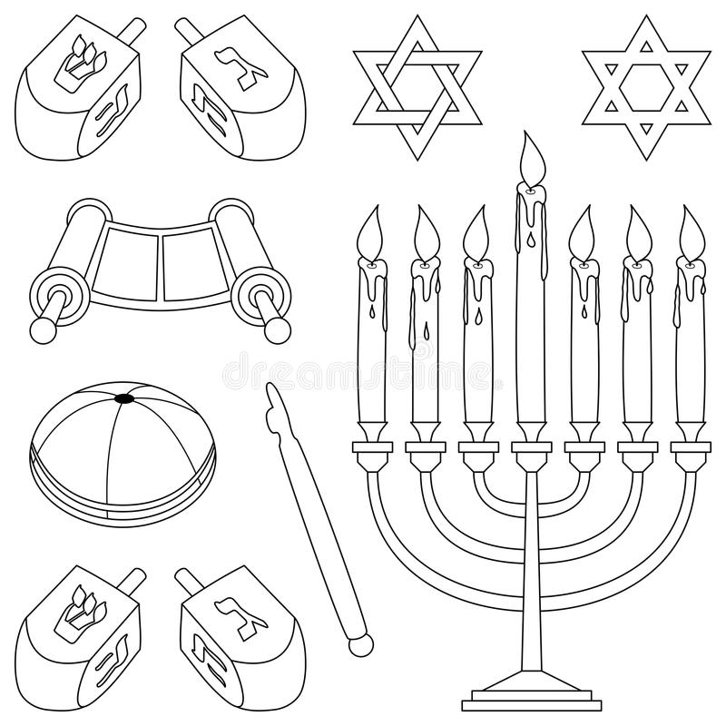 Coloring Judaism Elements stock vector. Illustration of
