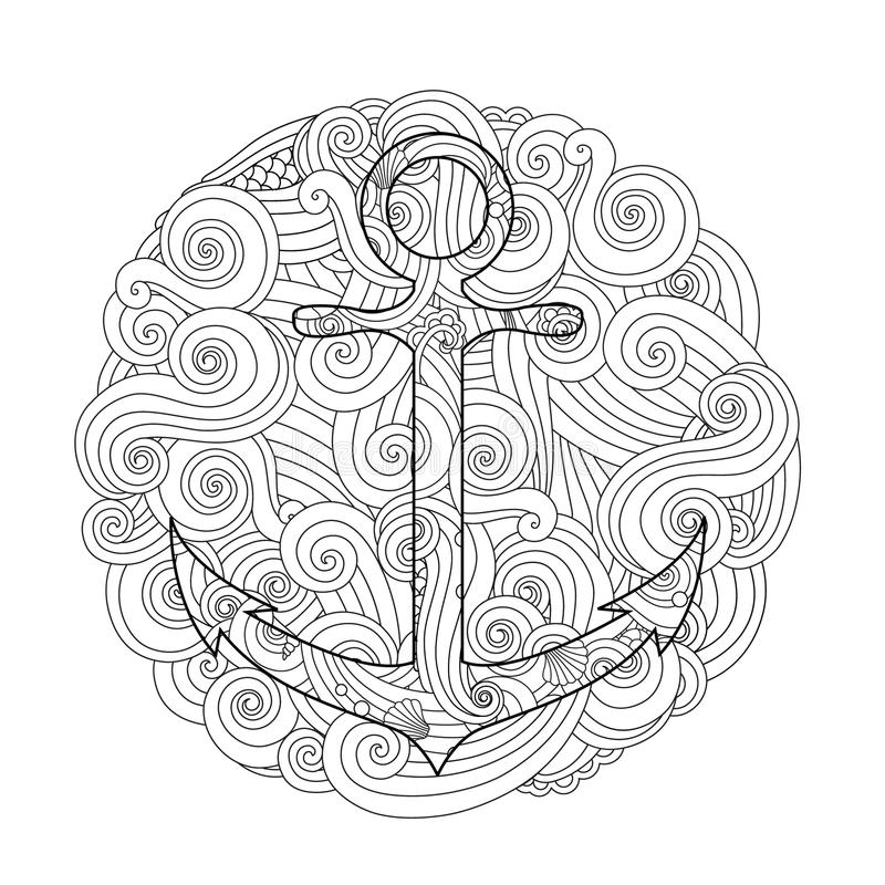Coloring Page With Anchor In Wave Mandala. Zentangle