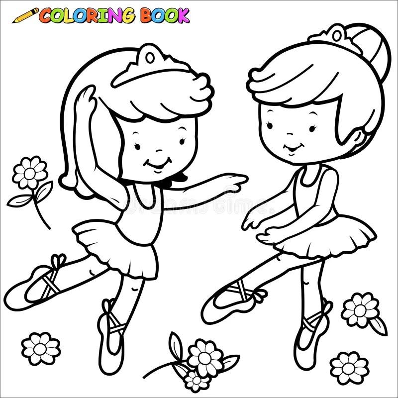 Coloring Page Ballerina Girls Dancing Stock Vector