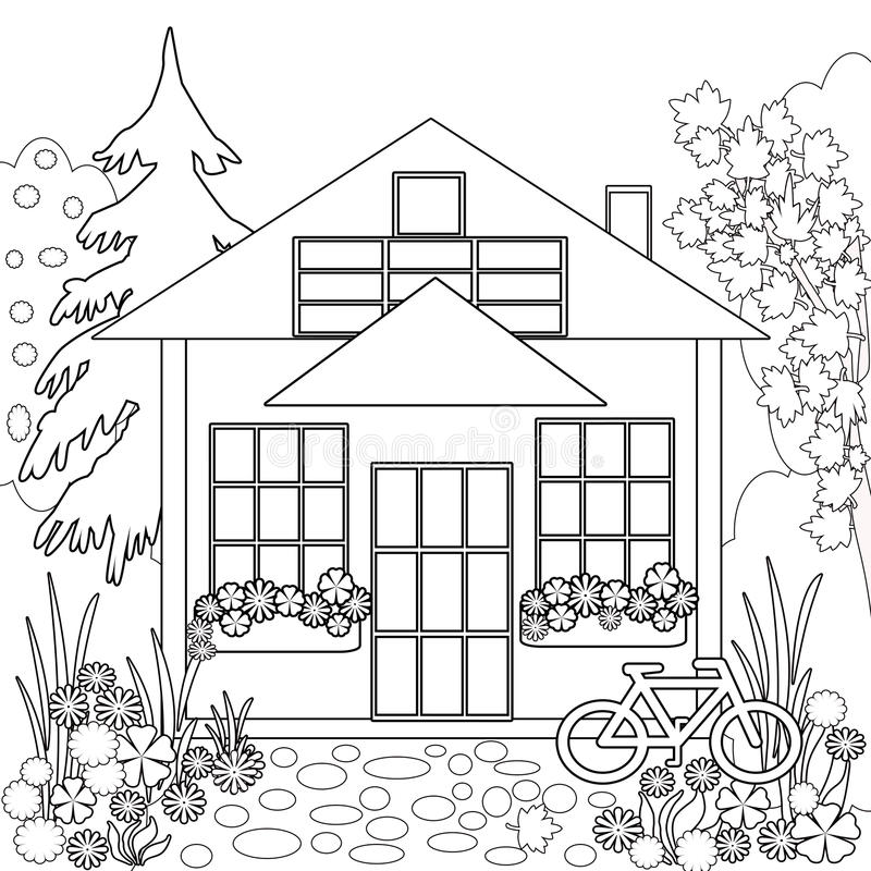 Coloring Page Book. Garden Floral Illustration Black And