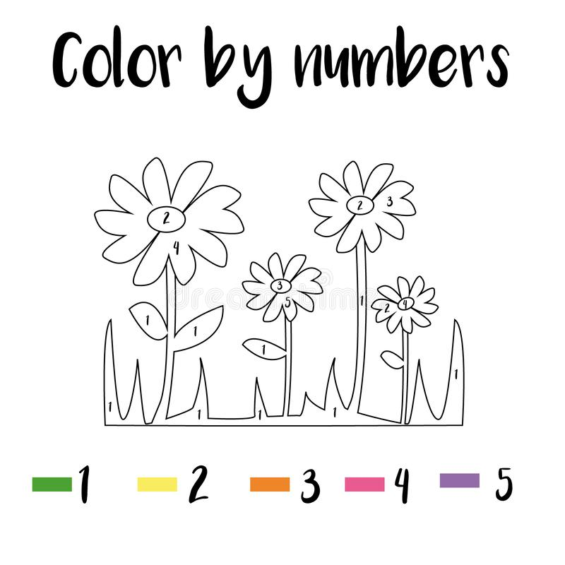 Color By Number Game: Flowers Stock Illustration
