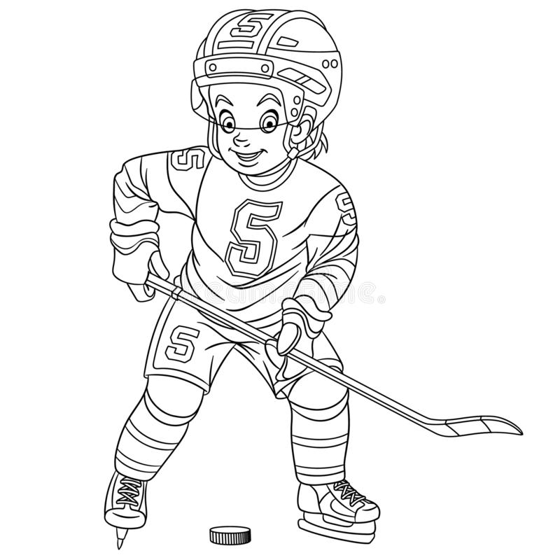 Funny Hockey Player With Stick And Puck Stock Vector