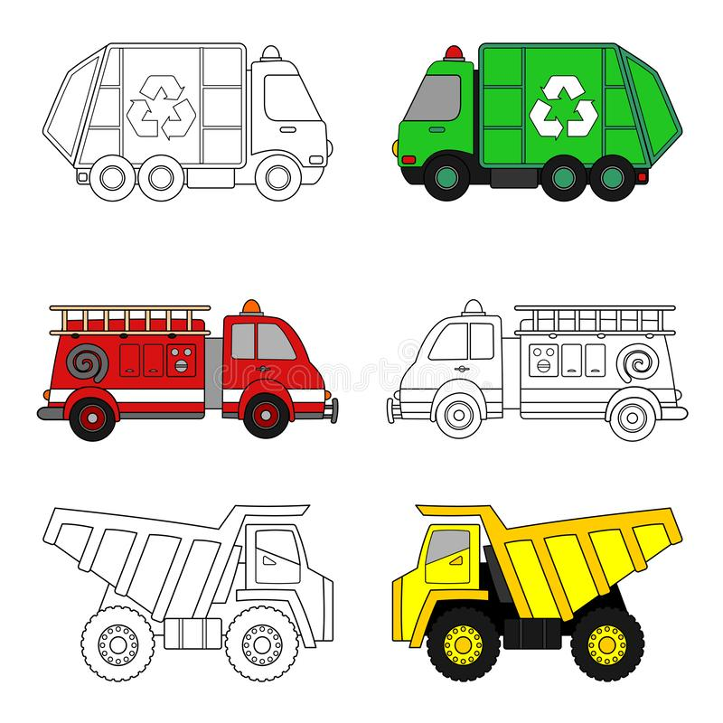 Trucks Coloring Page Stock Vector Illustration Of Vector 130773629