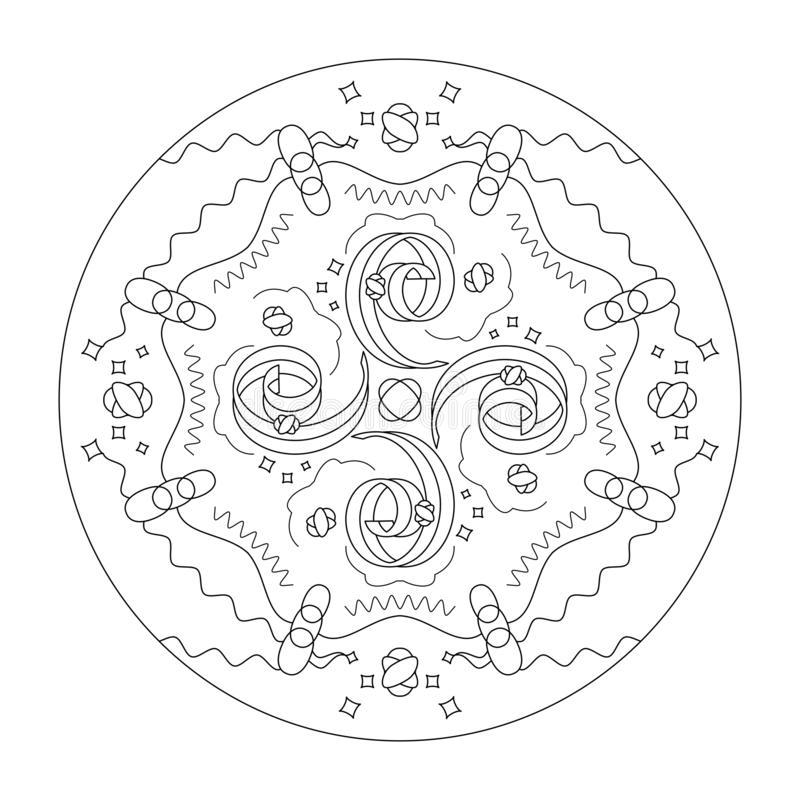 Adult Coloring Page For Antistress Art Therapy. Stock