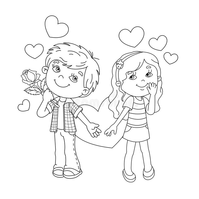 Coloring Page Outline Of Boy And Girl With Hearts Stock