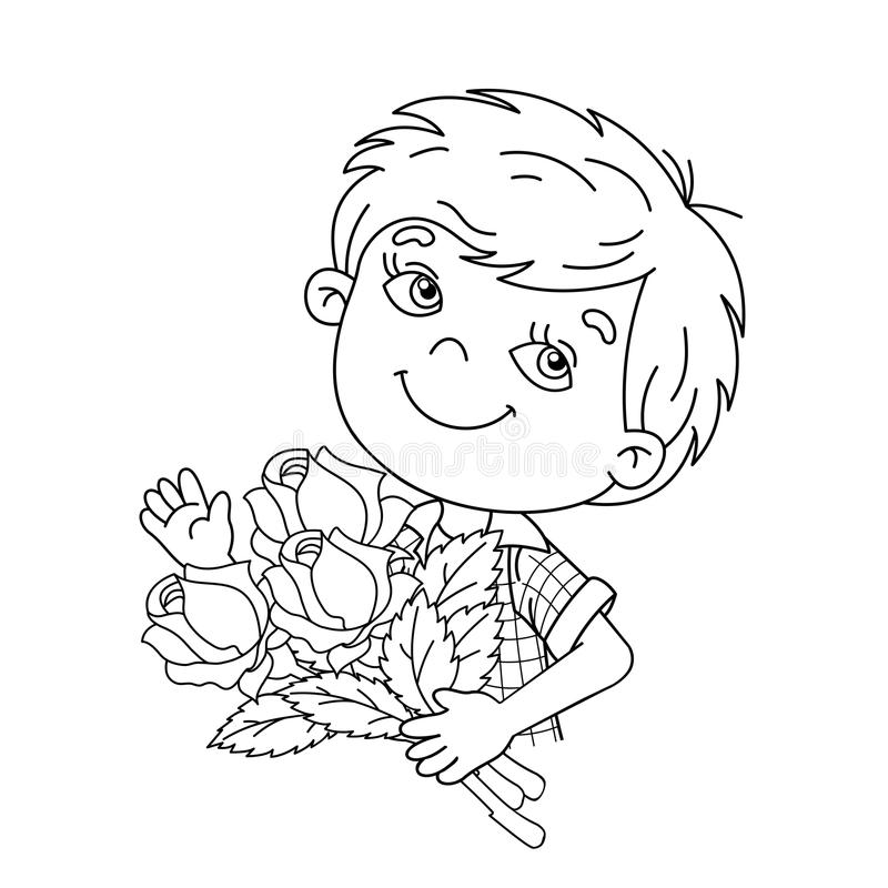 Coloring Page Outline Of Boy Holding A Bouquet Of Roses