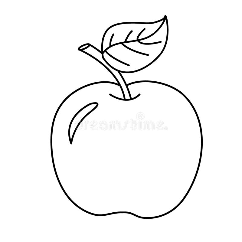 Coloring Page Outline Of Cartoon Apple. Fruits. Coloring