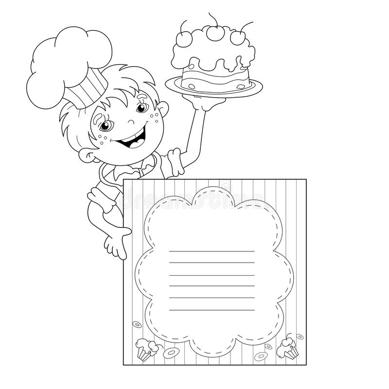 coloring page outline of cartoon boy chef  cake. menu