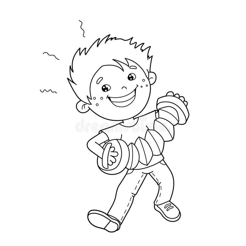 Coloring Page Outline Of Cartoon Boy Playing The Accordion
