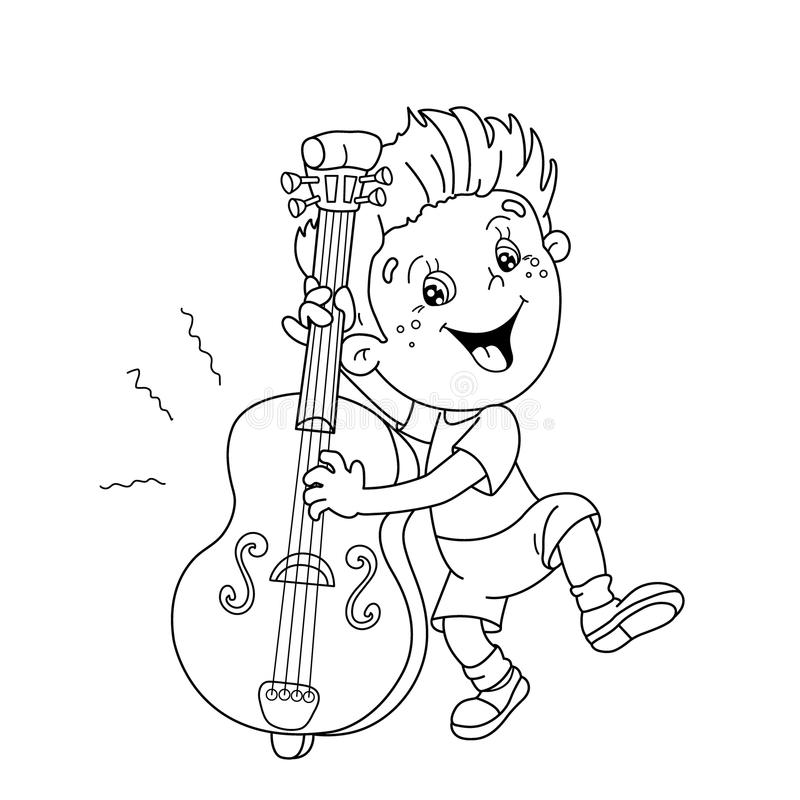 Cello Outline Drawing Sketch Coloring Page