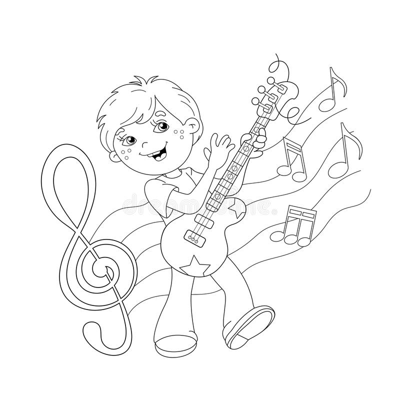 Coloring Page Outline Of Cartoon Boy Playing Guitar Stock