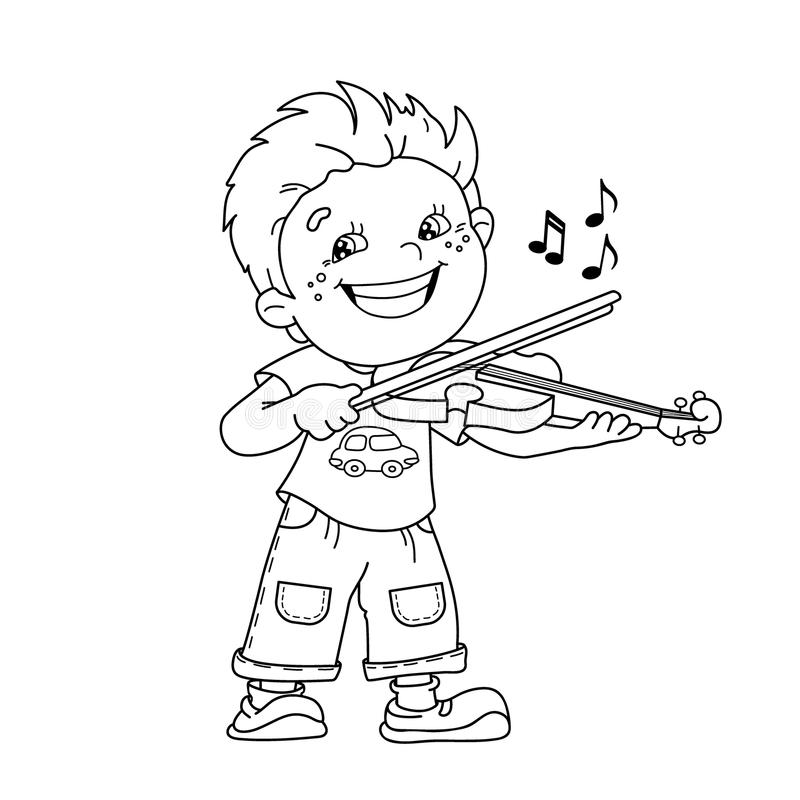 Boy Playing The Trumpet Coloring Page