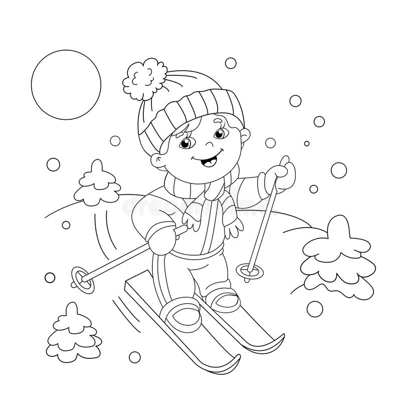 Coloring Page Outline Of Cartoon Boy Riding On Skis. Stock