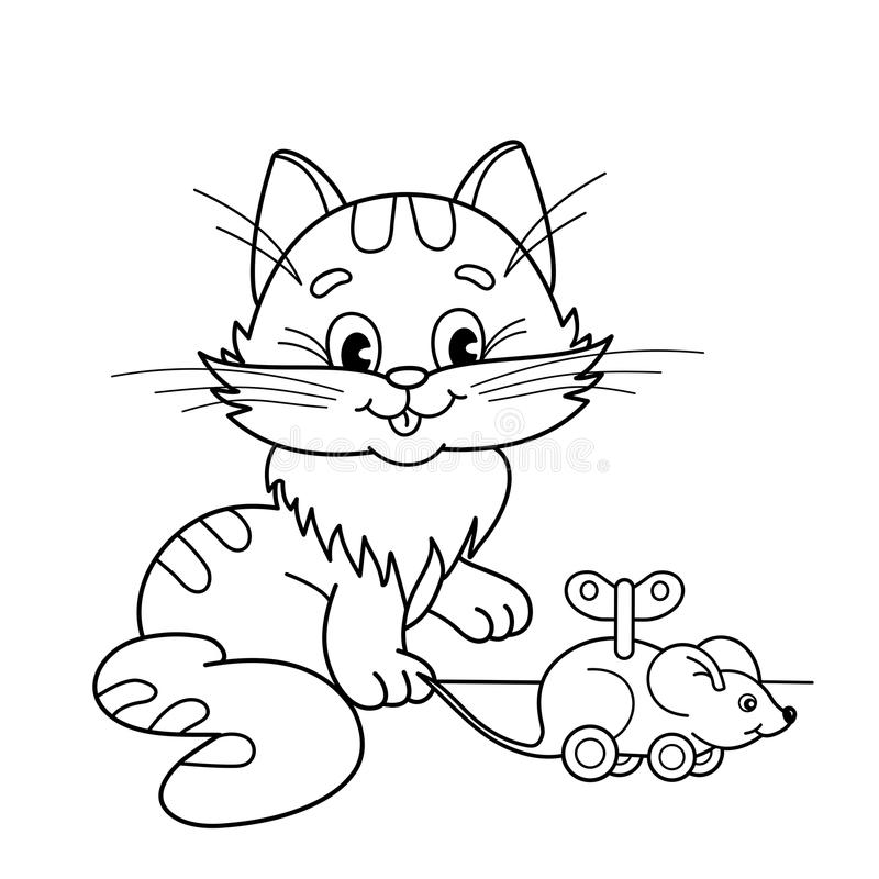 Coloring Page Outline Of Cartoon Cat With Toy Clockwork