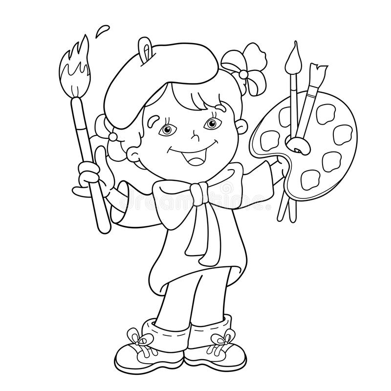 Coloring Page Outline Of Cartoon Girl Artist With Paints