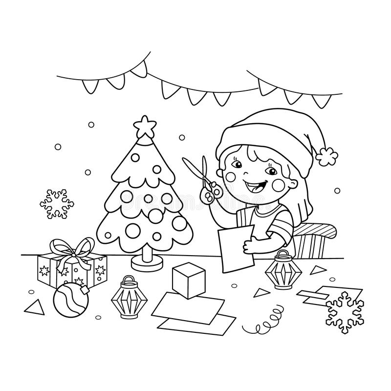 Girl Gluing The Paper Application Stock Vector